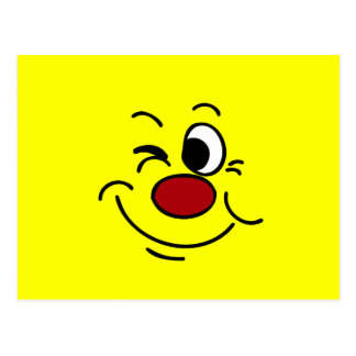 Winking Smiley Face Grumpey Postcard