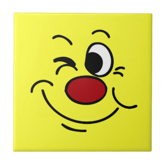 Winking Smiley Face Grumpey Tile