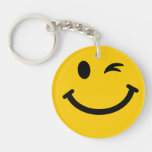 Winking smiley face key chain