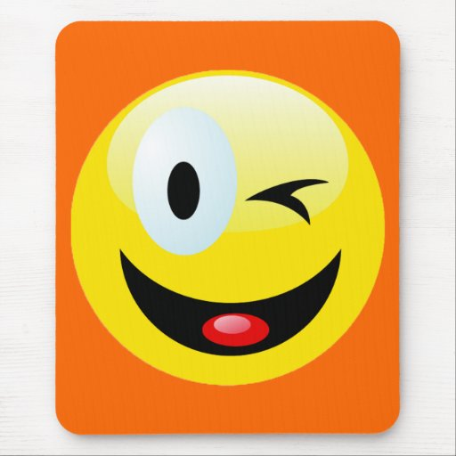 WINKING SMILEY FACE MOUSEPADS