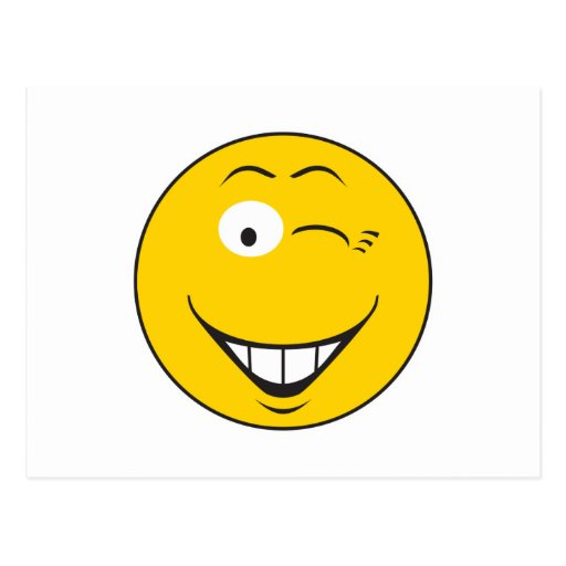 Winking Smiley Face Postcard