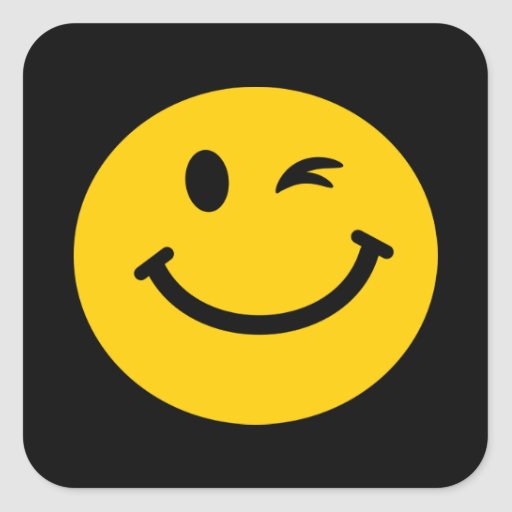 Winking smiley face square sticker