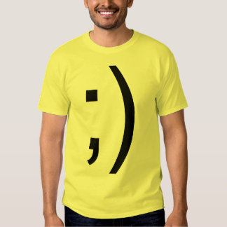 Winking Smiley Face Text Tee Shirt