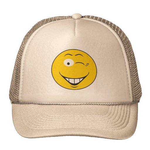 Winking Smiley Face Trucker Hat