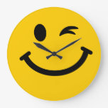 Winking smiley face wall clock