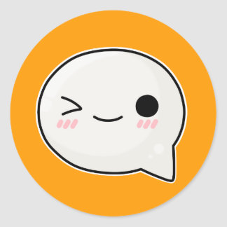 winking smiling face 2 classic round sticker