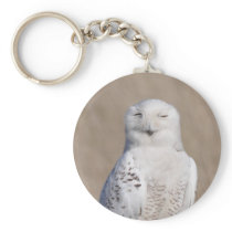 Winking Snowy Owl Keychain