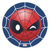 Winking Spider-Man Emoji Classic Round Sticker