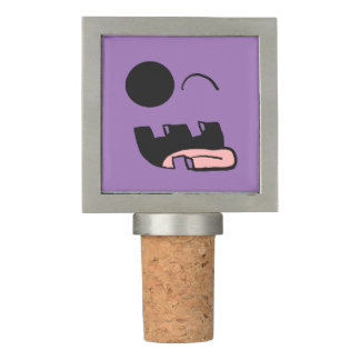 Winking Tongue Out Smiley Cork Topper Wine Stopper