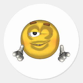 Winking - toon classic round sticker
