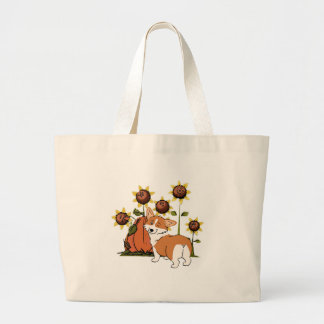 Winking Welsh Corgi with Sunflowers Large Tote Bag