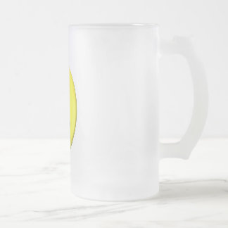 Winking yellow smiley frosted glass beer mug