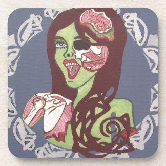 Winking Zombie Girl Beverage Coaster