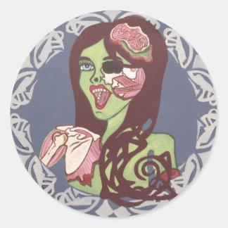 Winking Zombie Girl Classic Round Sticker