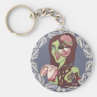 Winking Zombie Girl Keychain