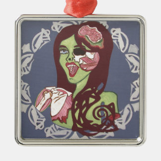 Winking Zombie Girl Metal Ornament
