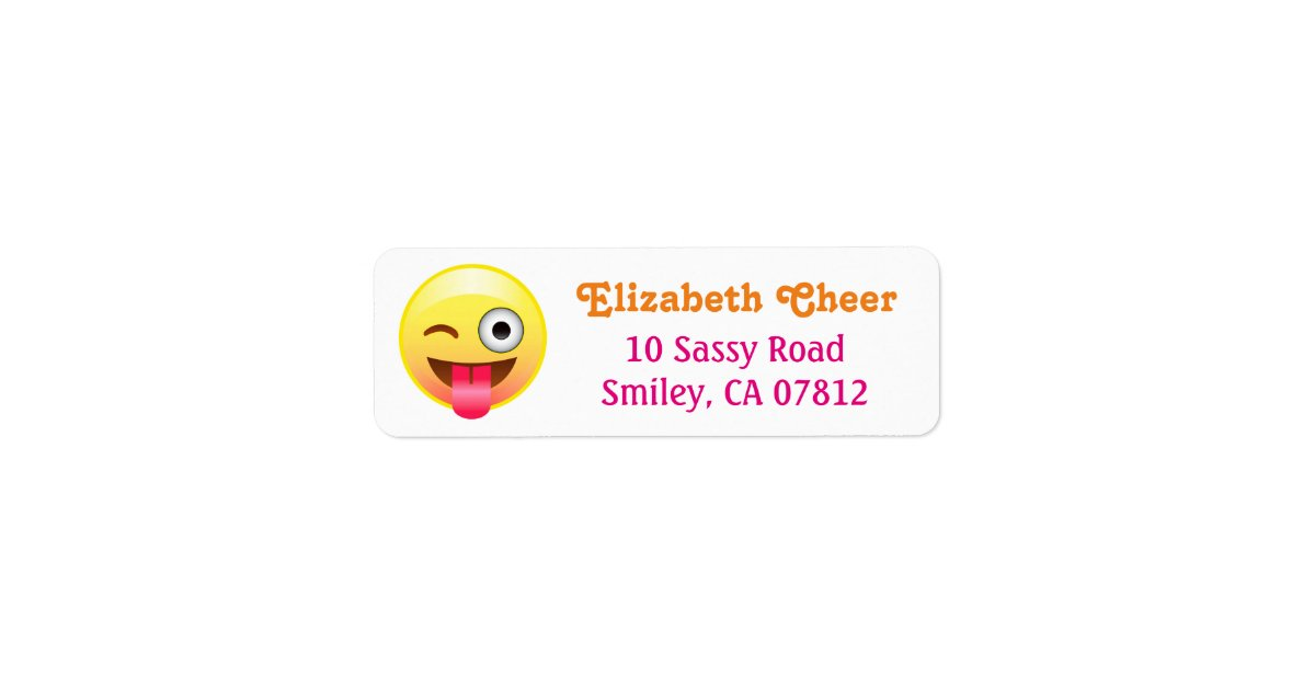 Winky Tongue Out Smiley Emoji Return Address Label | Zazzle