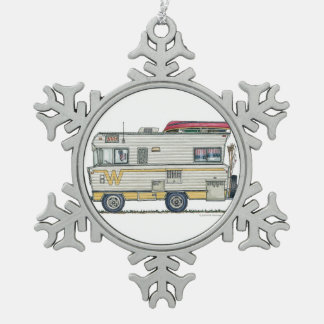 Winnebago Camper RV Apparel Snowflake Pewter Christmas Ornament