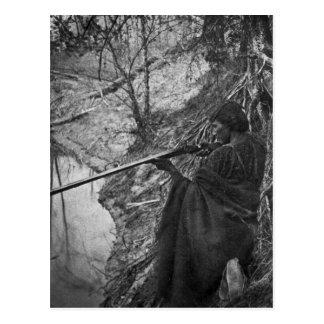 Winnebago Indian Chief Duck Hunting Grayscale Postcard