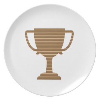 Winner Gold Trophy  TEMPLATE add TEXT GREETING Dinner Plate