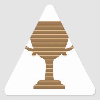 Winner Gold Trophy  TEMPLATE add TEXT GREETING Triangle Sticker