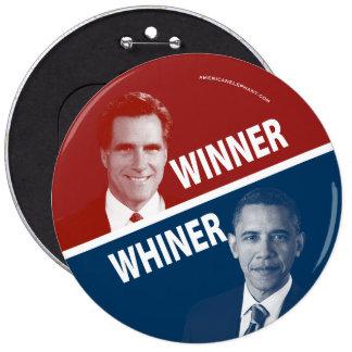 Winner or Whiner Romney Vs Obama Buttons
