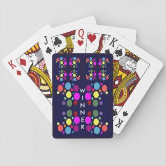 WINNER Playing Cards -Rainbow Balls on Navy Blue