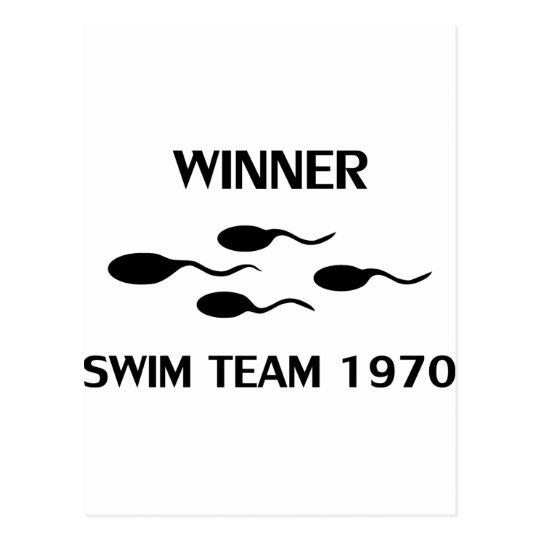 winner swim team 1970 icon postcard
