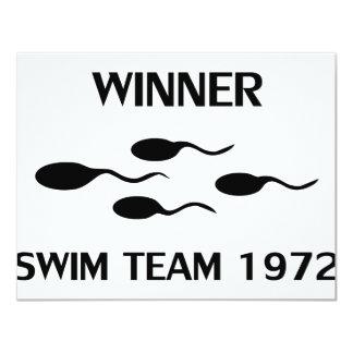 winner swim team 1972 icon 4.25x5.5 paper invitation card