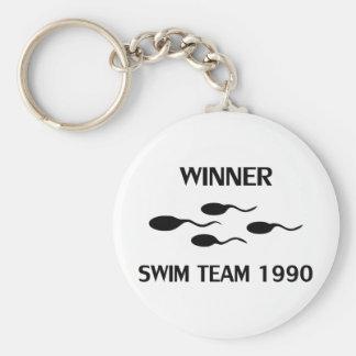 winner swim team 1990 icon basic round button keychain