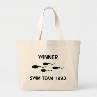 winner swim team 1993 icon large tote bag