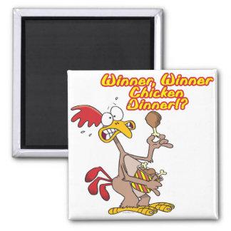 winner winner chicken dinner irony humor 2 inch square magnet