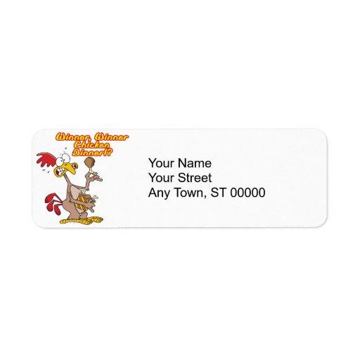 winner winner chicken dinner irony humor return address label