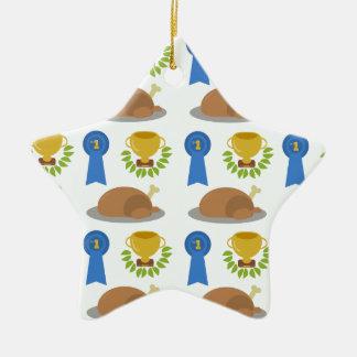 Winner Winner Chicken Dinner Pattern Ceramic Ornament