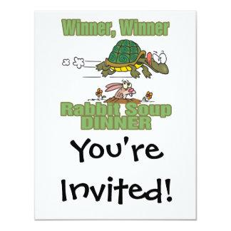 winner winner rabbit soup dinner fable humor 4.25x5.5 paper invitation card