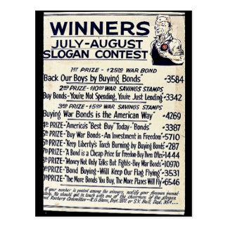 Winners July - August Slogan Contest Post Cards