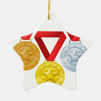 Winners medals Double-Sided star ceramic christmas ornament