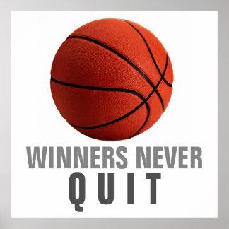 Winners Never Quit Basketball Artwork Poster