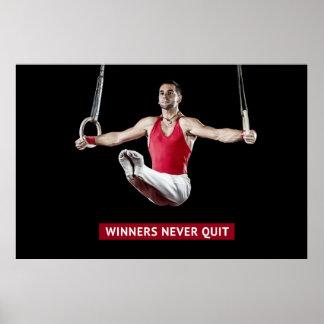 Winners Never Quit - Gymnastics Motivation Poster