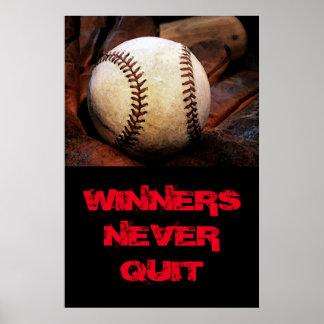 Winners Never Quit Inspirational Baseball Poster