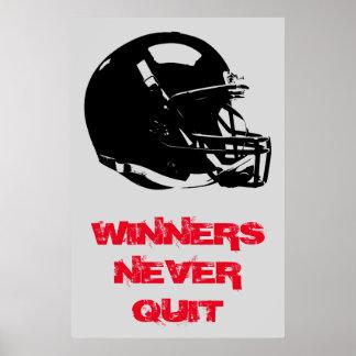 Winners Never Quit Inspirational Pop Art Football Poster