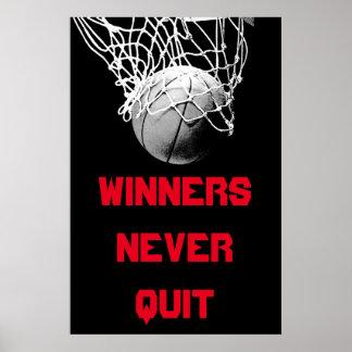 Winners Never Quit Motivational Basketball Poster