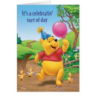 Winnie Pooh   Celebrating Card