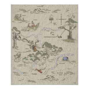 Winnie the Pooh   100 Acre Wood Map Poster