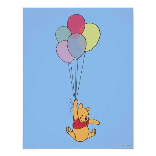 Winnie the Pooh and Balloons Print