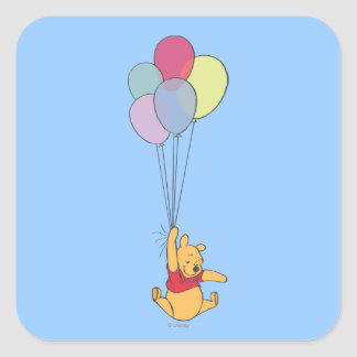 Winnie the Pooh and Balloons Square Stickers