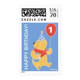 Winnie the Pooh | Baby Boy- First Birthday Postage Stamp