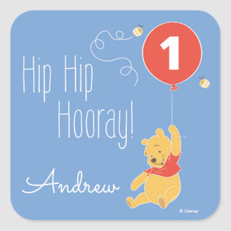 Winnie the Pooh | Baby Boy - First Birthday Square Sticker