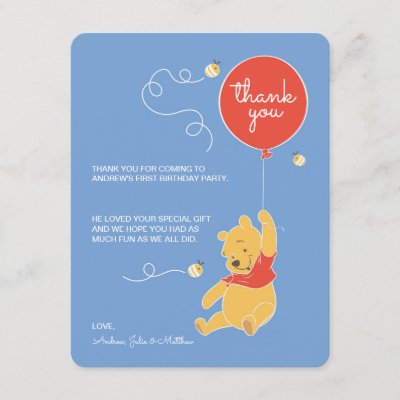 Winnie The Pooh Birthday Thank You Cards Zazzle