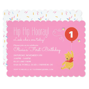Baby first birthday invitations announcements zazzle winnie the pooh baby girl first birthday card stopboris Choice Image